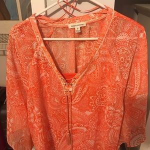 Coral printed poncho style shirt with cami
